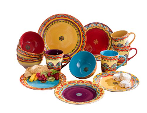 Euro Ceramica Galicia Collection Andalusian-Inspired 16 Piece Ceramic Dinnerware Set, Vibrant Assorted Patterns, (Ceramic Dinnerware Set)
