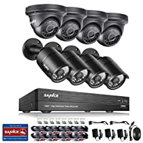 SANNCE 8CH 1080P Security DVR Recorder and (8) 1080P Surveillance Cameras with Super night vision, IP66 Weatherproof Housing,Motion Detection -No HDD