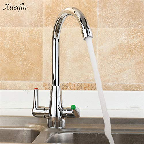Xueqin New Twin Lever Swivel Spout Modern Chrome Kitchen Sink Basin Mixer Tap Double Handle Kitchen Faucets ()