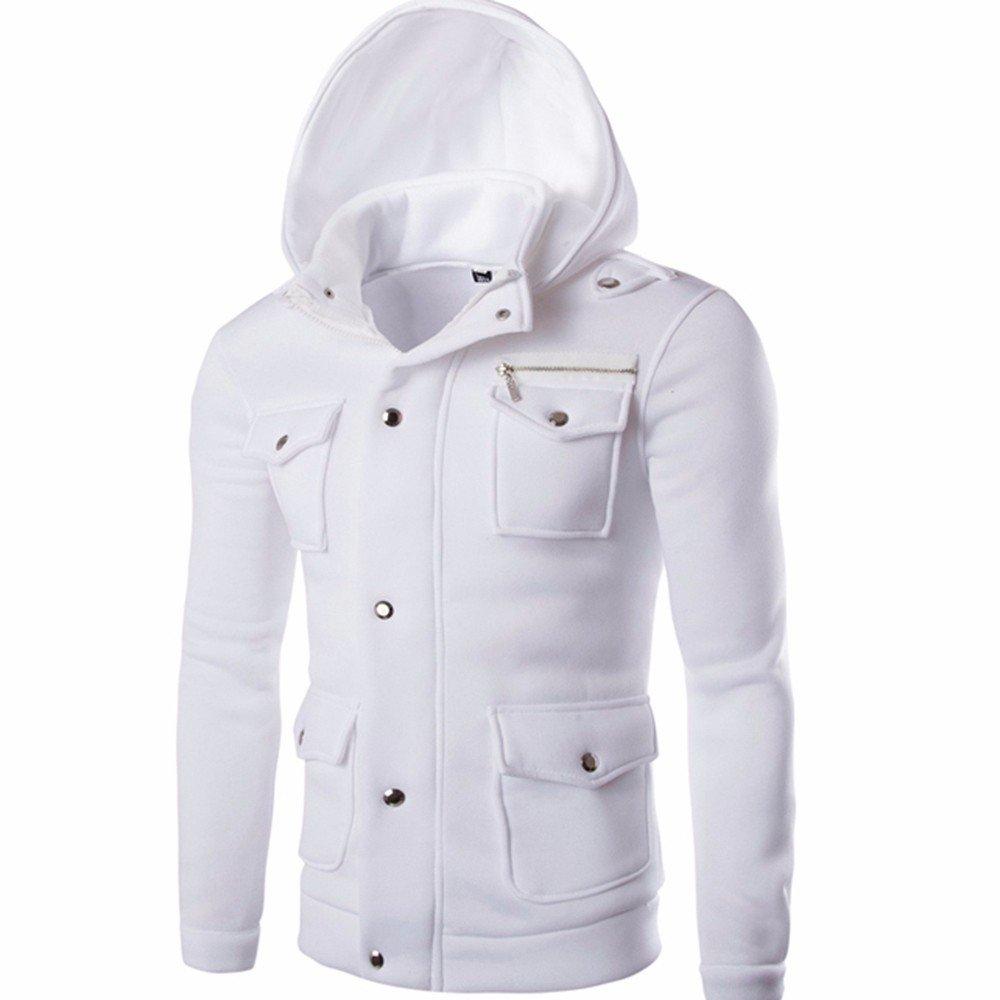 Theshy Men Pocket Solid Coat Jacket Sweater Swearshirt Hoodie Long Sleeve Outwear Pocket Hooded Design Casual Fashion Sweater