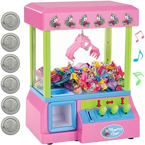 Bundaloo Claw Arcade Game Candy Dispenser for Kids, Jelly Bean, Gumball & Marshmallow Grabber | Mini Toy Vending Machine with Sounds, Birthday & Christmas Gifts for Boys & Girls (Pink Unicorn)