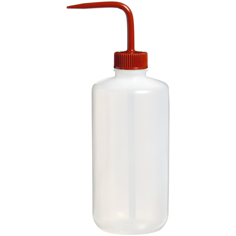 Nalgene 2421-0500 Fluorinated HDPE Solvent Wash Bottle, 500mL Capacity, 53mm Red Fluorinated Polypropylene Closure (Pack of 2)