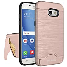 Galaxy A5 2017 Case, Samsung Galaxy A5 2017 Case OEAGO [Card Slot] [Brushed Texture] Heavy Duty Hybrid Dual Layer Wallet Case Cover Shell with Kickstand for Samsung Galaxy A5 (2017) - Rose Gold