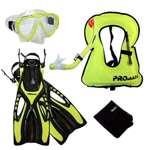 eling Vest Jacket Mask Snorkel Fins Set for kids, Yel, S/M (Junior Snorkeling Vest)