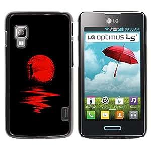 Caucho caso de Shell duro de la cubierta de accesorios de protección BY RAYDREAMMM - LG Optimus L5 II Dual E455 E460 - Moon Halloween Dark Reflection