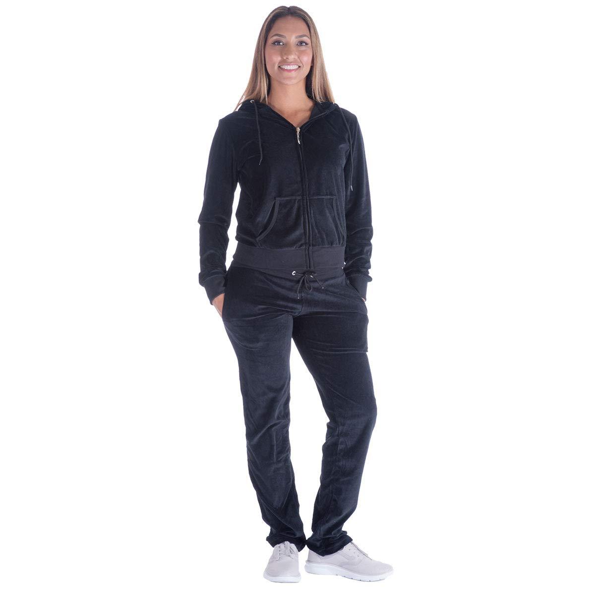 Black Grey Womens Velvet Zip Hooded Sweatshirt Athletic Soft Plus Size Hooded and Sweat Pants Tracksuit Set (XL, Black)