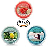 Yankee Candle Spring Favorites MeltCups -- Catching Rays + April Showers + Strawberry Lemon Ice -- Set of 3 Easy Meltcups Scenterpiece Wax Warmer System Refills with one Sheer White Organza Gift Bag
