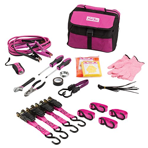 The Original Pink Box PBCSAFECAR Emergency Roadside Assistance Kit for Vehicles and Ratchet Strap (Moving Survival Kit)
