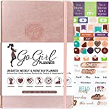GoGirl Planner - Best Undated Goal Planner & Organizer for Women to Improve Time Management, Increase Productivity & Achieve Your Goals. Undated - Start Anytime, Lasts 1 Year, A5 Size - Rose Gold