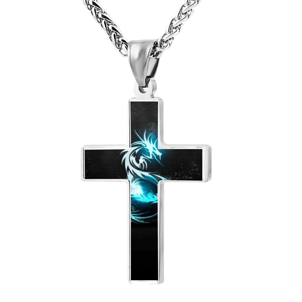 Polished Blue Dragon Christian Cross Necklace Religious Jewelry Pendant