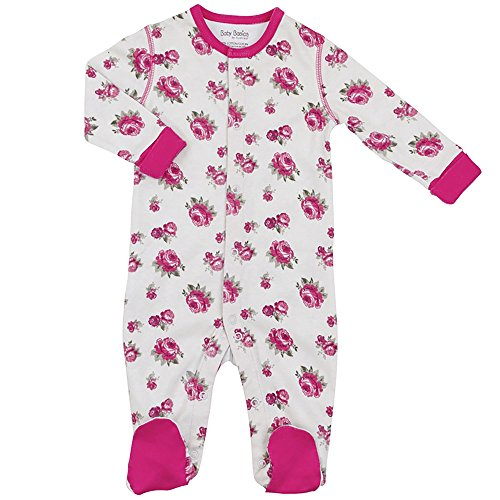 Kushies Cotton Baby Pajamas Pink Rose Baby Girl Footie Footed Sleeper Romper 3M