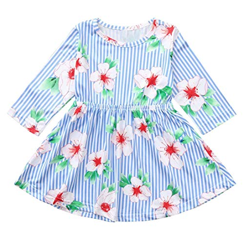 SUNTEAMO Toddler Baby Kids Girls Floral Print Striped Dresses Outfits Dress Clothes (Blue, 110) ()
