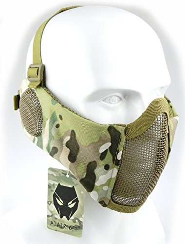 Mesh Airsoft Face Guard (ATAIRSOFT Tactical Airsoft CS Protective Lower Guard Mesh Nylon Half Face Mask with Ear Cover Camo)