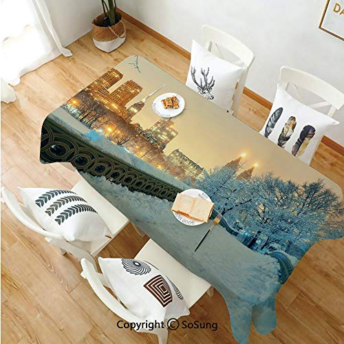 Winter Rectangle Polyester Tablecloth,Central Park Winter Season with Skyscrapers and Snow Bow Bridge Manhattan New York,Dining Room Kitchen Rectangle Table Cover,60W X 120L inches,