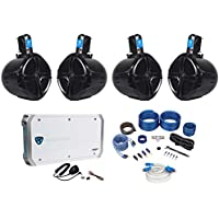4 Rockville RWB80B 8 Wakeboard Marine Speakers+4 Channel Amplifier+Amp Kit