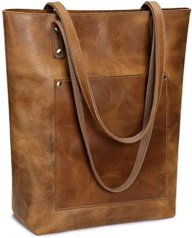 S-ZONE Women Vintage Genuine Leather Tote Bag Large Shoulder Purse Work Handbag