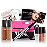 Luminess Air Pink & Black Legend Airbrush System with 5-Piece Silk 4-IN-1 Deluxe Airbrush Foundation & Cosmetic Starter Kit, Tan