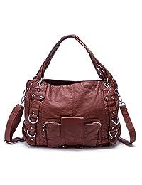 BAIGIO Women's Soft PU Faux Leather Tote Bag Purse Satchel Handbag