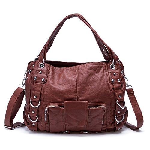 Wholesale Designer Purses (Soft Washed Crossbody Bag Front Zippers Shoulder Bag Hobo Purse Designer Handbags for Women (Red brown))