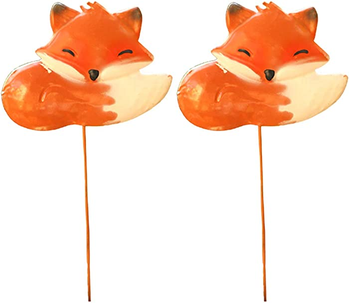 Sungmor 2PC Pack Decorative Garden Stakes/Colorful Metal Fox Animal Stick Ornaments/Indoor Outdoor Patio Balcony Landscaping Plant Decoration
