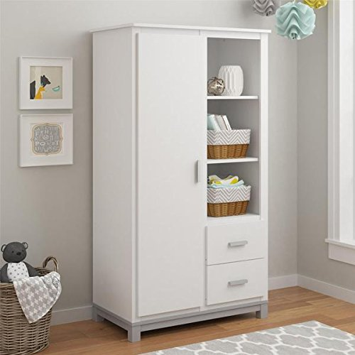 Altra Leni White/Light Slate Grey Armoire by Cosco, Armoire has three (3) large open shelves for storing toys, games and books (Modular Craft Desk compare prices)
