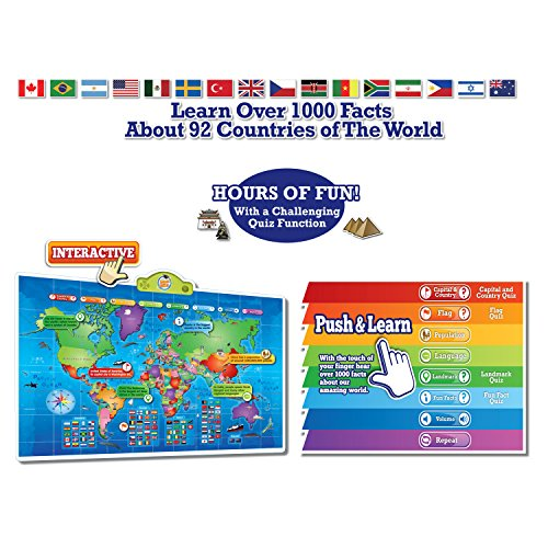 Kids Interactive Talking World Map Touch Activated Geography for Kids, Push-to-Talk Map Learn Over 1000 Facts and Quizzes About 92 Countries World Map Puzzle Game, Fun & Educational by Learn & Climb (Image #4)