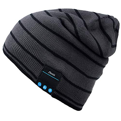 Mydeal Bluetooth Hat Adult Unisex Trendy Soft Warm Knit Slouchy Beanie Skully Hat with Wireless Headphone Headset Speaker Mic Hands-free,Christmas Gift for Winter Outdoor Sport Skiing Snowboard - Gray