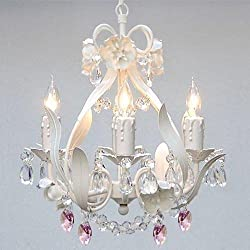 WHITE IRON CRYSTAL FLOWER CHANDELIER LIGHTING W/PINK CRYSTAL HEARTS! - PERFECT FOR KID'S AND GIRLS BEDROOM!