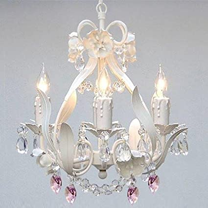 WHITE IRON CRYSTAL FLOWER CHANDELIER LIGHTING W/PINK CRYSTAL ...