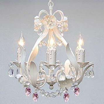 WHITE IRON CRYSTAL FLOWER CHANDELIER LIGHTING W PINK CRYSTAL HEARTS – PERFECT FOR KID S AND GIRLS BEDROOM