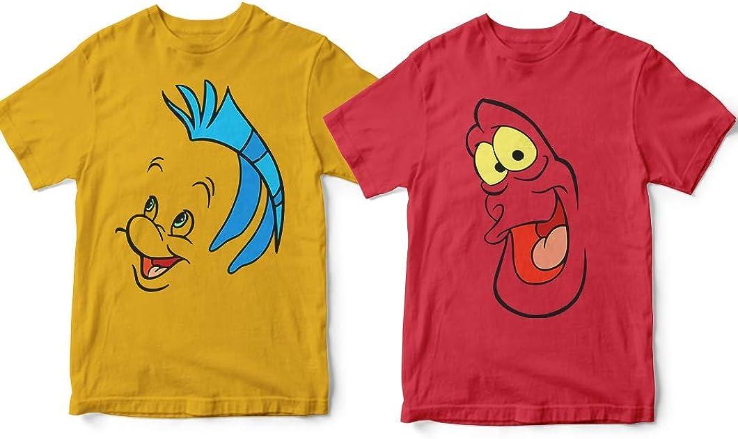 Sebastian-/&-Flounder Couple Mermaid Halloween Costume Friends Besties BFF Matching Onesies Short Sleeve Long Sleeve Baby Bodysuit