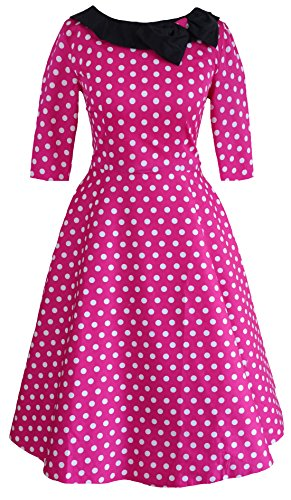 Robe vintage Party années 50Années 60Collier Rouge à manches Motif à pois Noir Taille UK 8–24 -  rouge - 40