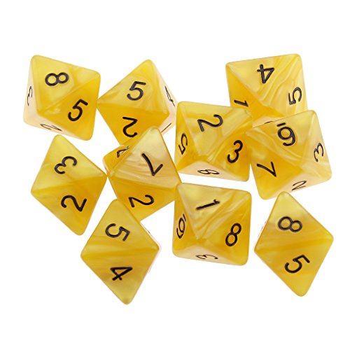 Jili Online 10pcs 8 Sided Dice D8 Polyhedral Dice for Dungeons and Dragons Roley playing Games Dice Gift Yellow