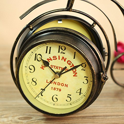 NEOTEND Handmade Vintage Bicycle Clock Bike Mute Two Sided Table Clock by NEOTEND (Image #3)