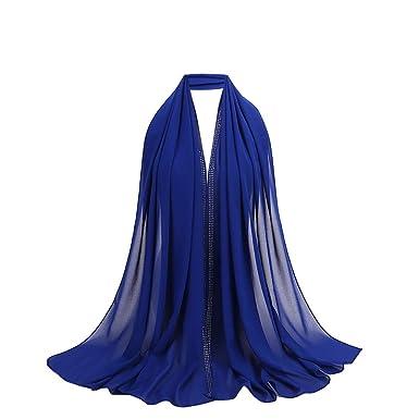 c701388c3560 Rovinci Mode 1 PC Femmes Dames Malaisie Mousseline de Soie Diamant Musulman  Écharpe Couleur Unie Doux Emballage Longue Châle (Bleu)  Amazon.fr   Vêtements et ...