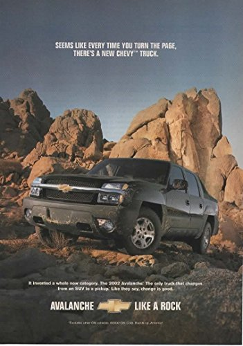 Magazine Print Ad: 2003 Chevy Avalanche, Black, It invented a whole new category. The only truck that changes from a SUV to a pickup.change is good'