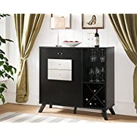 151287 Smart Home Modern Fine Dining Wine Black Faux Croc Storage Side Board Buffet Cabinet