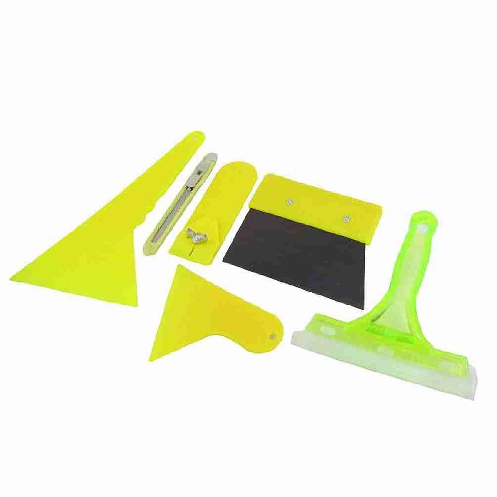 Topmall 6 en 1 hoja cortador de vidrio limpiaparabrisas Cine raspador conjunto amarillo para el coche auto: Amazon.es: Coche y moto