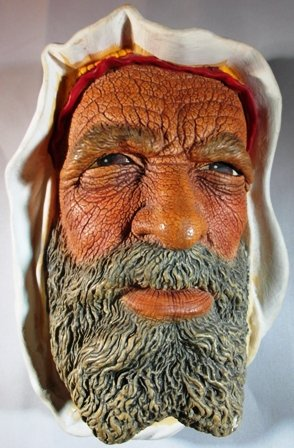 Bossons Vintage Chalkware Painted 3D Head Bust Wall Plaque from England - Syrian (Chalkware Wall Plaque)