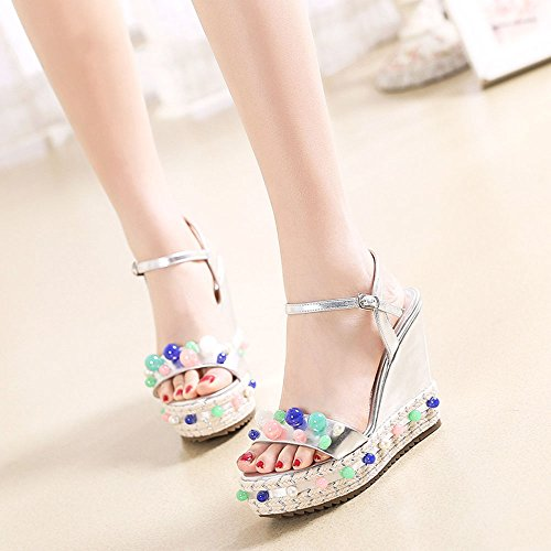 Silver Women's Vintage Bohemia Shoes Bottom Platform Summer Sandals EU36 UK4 Beads CN36 Beach 10 Size Color Waterproof 5CM Weave White Thick ZHIRONG Colorful Wedges 56vww8xgq