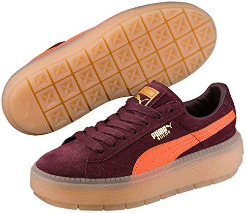 Puma Frauen-Plattformtraceblock-Schuhe, 37.5 EU, Winetasting/Flame