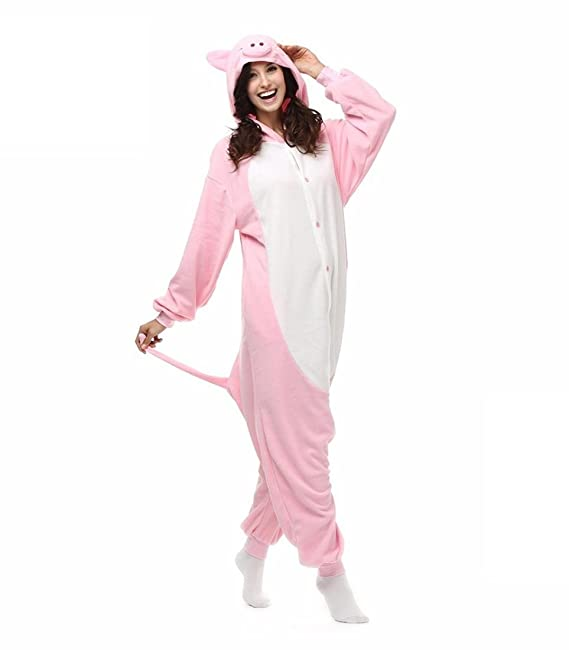Amazon.com : HYY@ Kigurumi Pajamas Cosplay / Piggy/Pig Leotard/Onesie Halloween Animal Sleepwear Pink Patchwork Polar Fleece Kigurumi UnisexHalloween ...