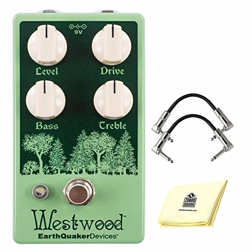 EarthQuaker Devices Westwood Translucent Drive Manipulator Overdrive Pedal with Active EQ and True Bypass Switching Effect Pedel Bundle included 2 Patch Cable and Zorro Sounds Polishing Cloth