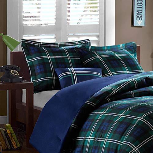 (4 Piece Boys Navy Blue Green Madras Glen Plaid Theme Comforter Full Queen Set, Stylish All Over Tartan Check Plaided Bedding, Horizontal Vertical Stripe Lodge Cabin Themed Pattern)