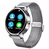 Lincass SmartWatch Sport Bluetooth Smart Watch Metal Frame Waterproof SMS Notification Phone Calls Music Camera Remote Pedometerfor Wristwatch for iPhone Android ios Smartwatch (Silver)