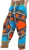 Raan Pah Muang RaanPahMuang Baggy Straight Leg Carnival Dashiki Print Unisex Pants Heart Print, X-Large, Heart Print True Blue