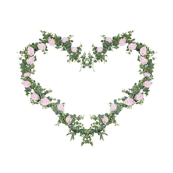 U'Artlines 6.5Ft Total 13 Feet Artificial Eucalyptus Leaves Garland Faux Silk Greenery Vine Hanging Plants Swag for Home Wedding Backdrop Table Decor (2PCS Eucalyptus Garland with Light Pink Roses)