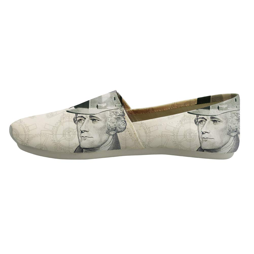 Classic Canvas Slip-On Lightweight Driving Shoes Soft Penny Loafers Men Women American Founding Father Alexander Hamilton