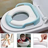 Kids Potty Toilet Training Seat - Secure Non-Slip Surface Soft Removable Cushion With Armrest Handles Potty Ring Fit Most Toilet Types For Babies & Toddlers, Boys & Girls - Price Xes (Blue)