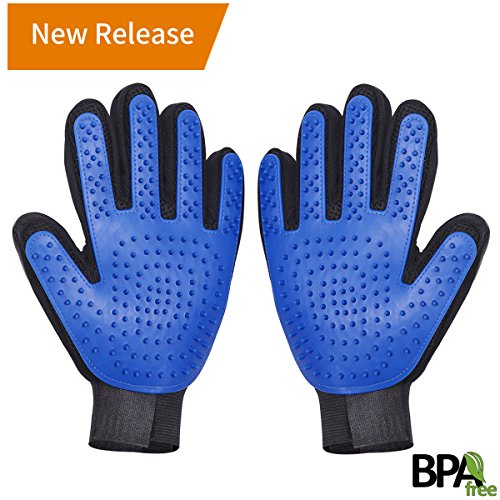Pet Grooming Gloves Brush Mitt - Gental Pet Deshedding Brush Gloves, Hair Remover Mitt, Perfect Massage Petting Tool for Cats, Dogs & Horses (Blue, 1 Join)
